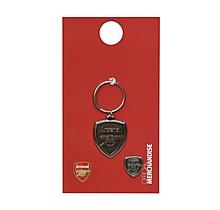 Arsenal Antique Crest Keyring and Badge Set