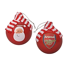 Arsenal Christmas Santa 2pk Luxury Baubles