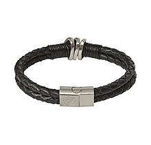 Arsenal Black Duo Leather Bracelet