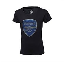 Arsenal Infant Girl Rhinestone Crest T-Shirt