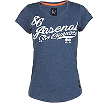 Arsenal Womens Script Print Denim Marl T-Shirt