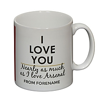Arsenal Personalised I Love You Nearly As Much Mug