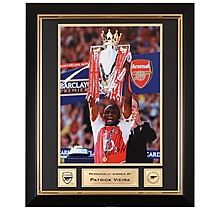 Arsenal Patrick Vieira Lifting Premiership Trophy 2004 Signed Frame