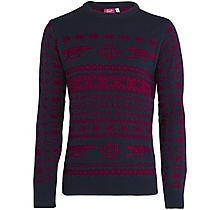 Arsenal Adult Christmas Fairisle Navy Jumper