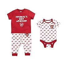 Arsenal Baby 3pc Babygrow, T-Shirt, Pant Set