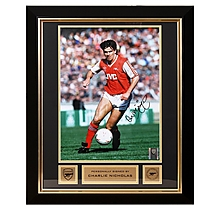 Arsenal Charlie Nicholas Framed Signed Photo Littlewoods Cup 87