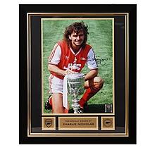 Arsenal Charlie Nicholas Framed Signed Photo Littlewoods Trophy