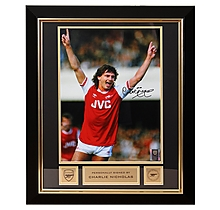 Arsenal Charlie Nicholas Framed Signed Photo Celebration