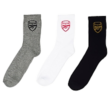 Arsenal 3 Pack Crest Socks