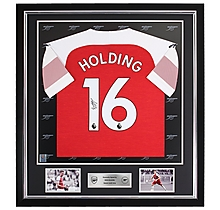 Holding Framed Signed 18/19 Shirt
