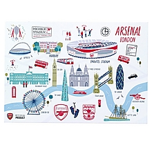 Arsenal London Map Postcard