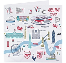 Arsenal London Map Greetings Card
