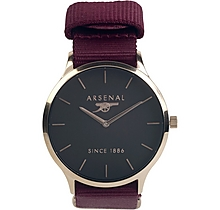 Arsenal Womens Rose Gold & Burgundy Strap Watch