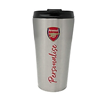 Arsenal Stainless Steel Personalised Crest Travel Mug