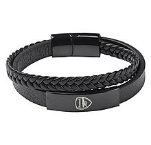 Arsenal Black Stainless Steel & Leather Bracelet