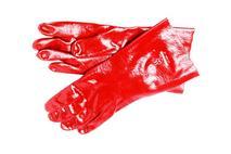 Red Rubber Gauntlet Gloves