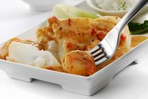 M&J Seafood Atlantic Cod loin with King Prawns in a Red Thai Sauce