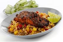 M&J Seafood Jerk Marinaded MSC Sockeye Salmon Fillet with Mango Rice
