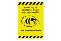 A5 Please Pay Contactless Where Possible Wall Sticker