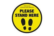 Please Stand Here Floor Round Sticker