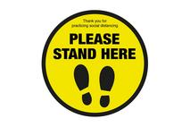 Please Stand Here Floor Round Sticker