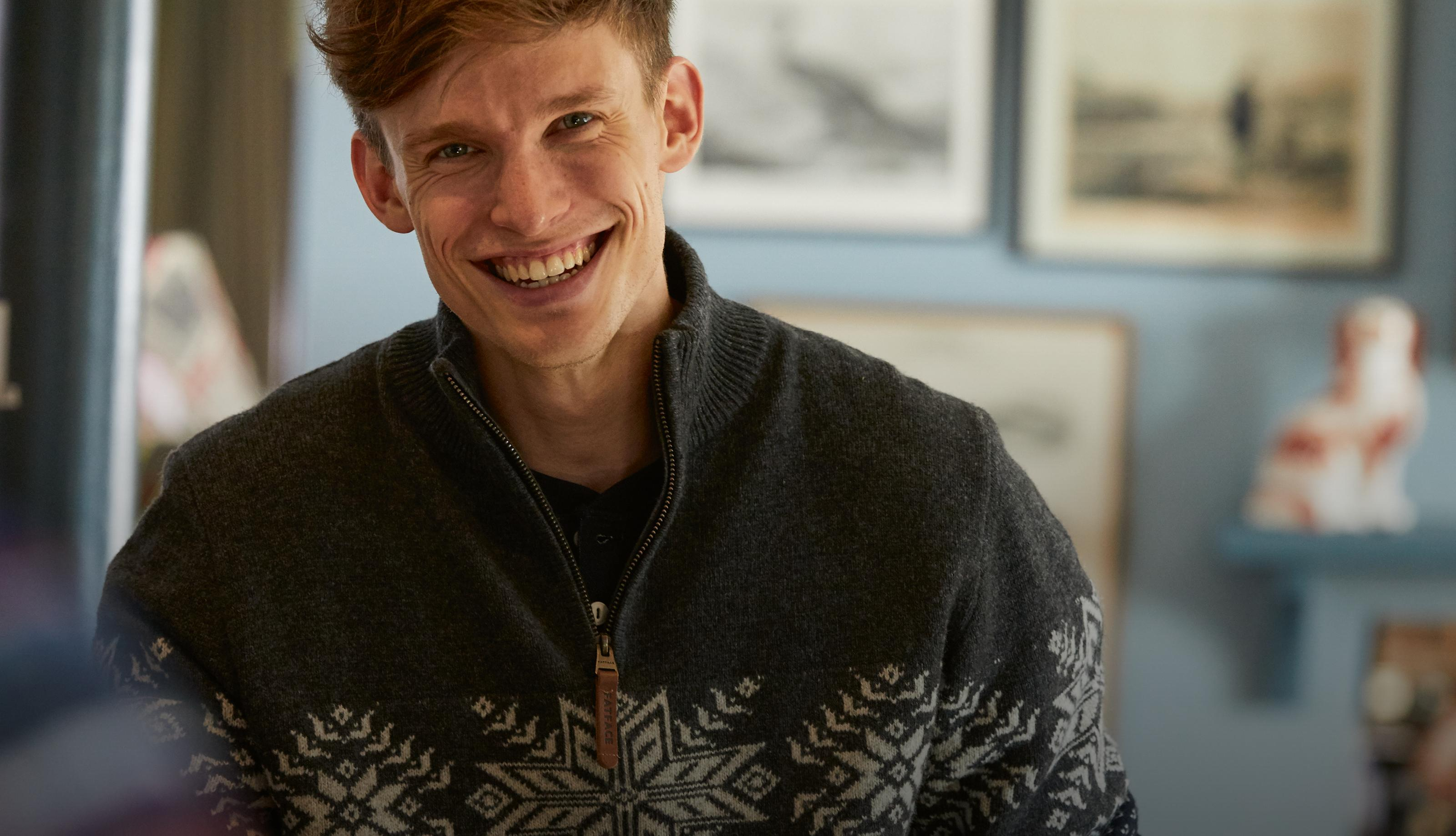 Cosy up with warm, soft jumpers and cardigans for men.