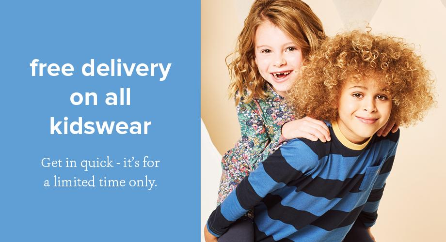 free delivery on all kidswear
