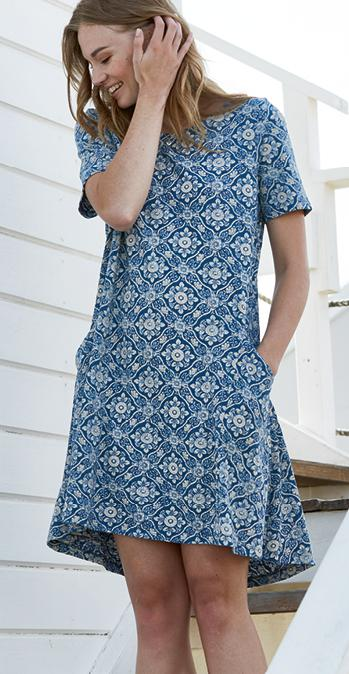 Simone Woodblock Print Dress