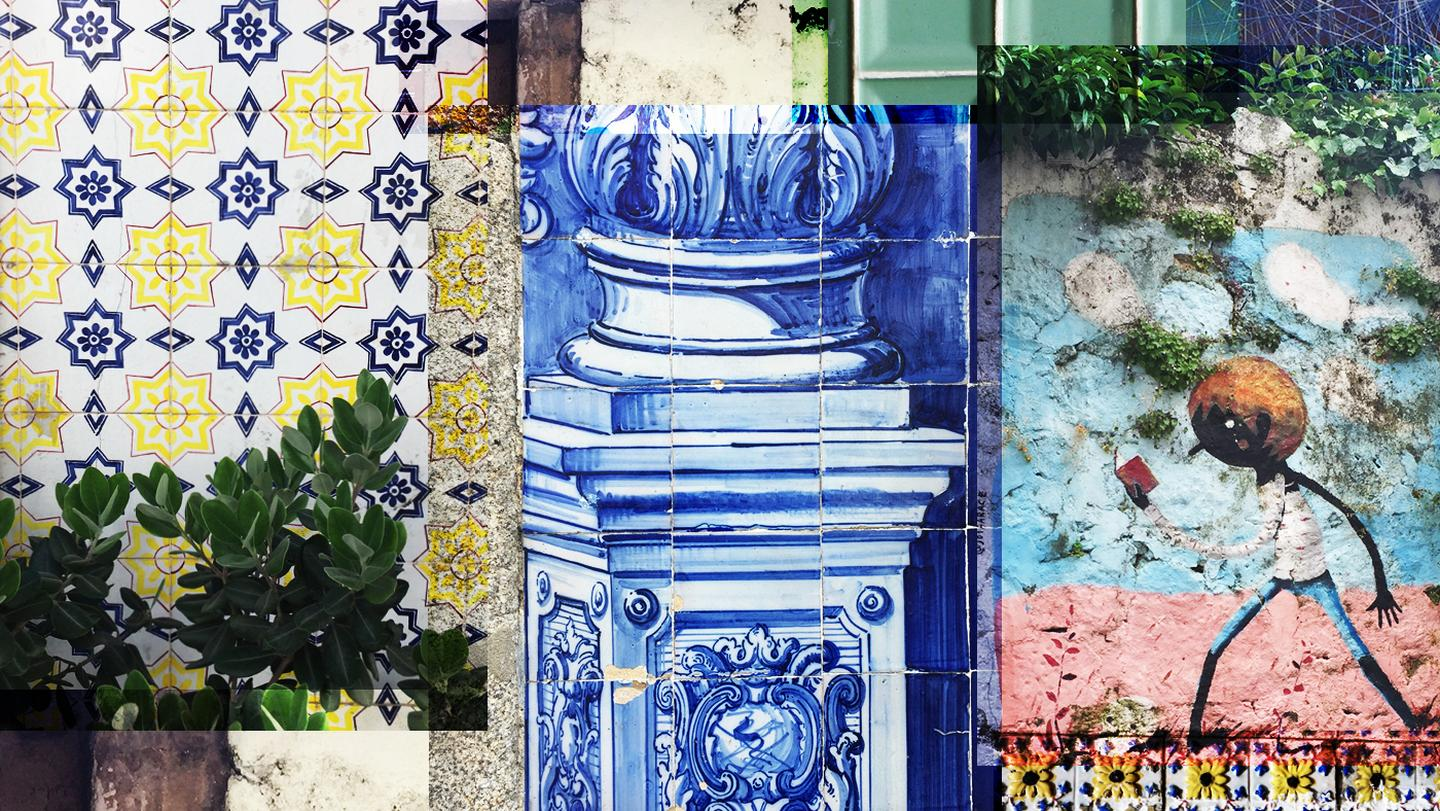 An example of some of the colourful graffiti and patterned tiles around Braga in North Portgual