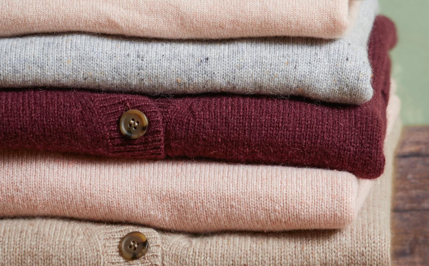 A neatly folded pile of beautifully soft cashmere knitwear from FatFace