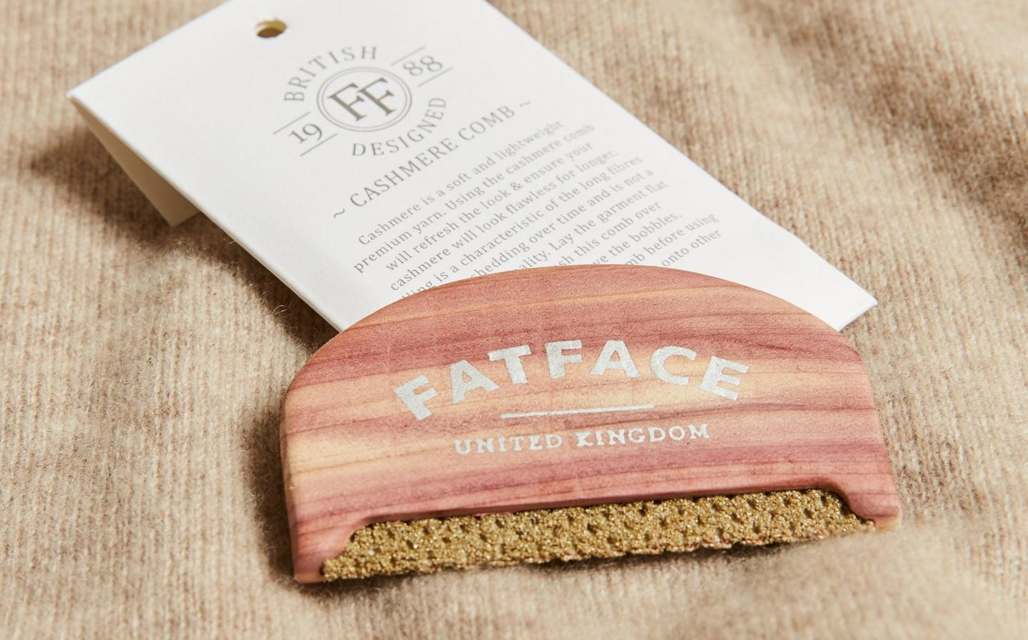 The complementary pilling comb from FatFace, which is used to delicately brush cashmere