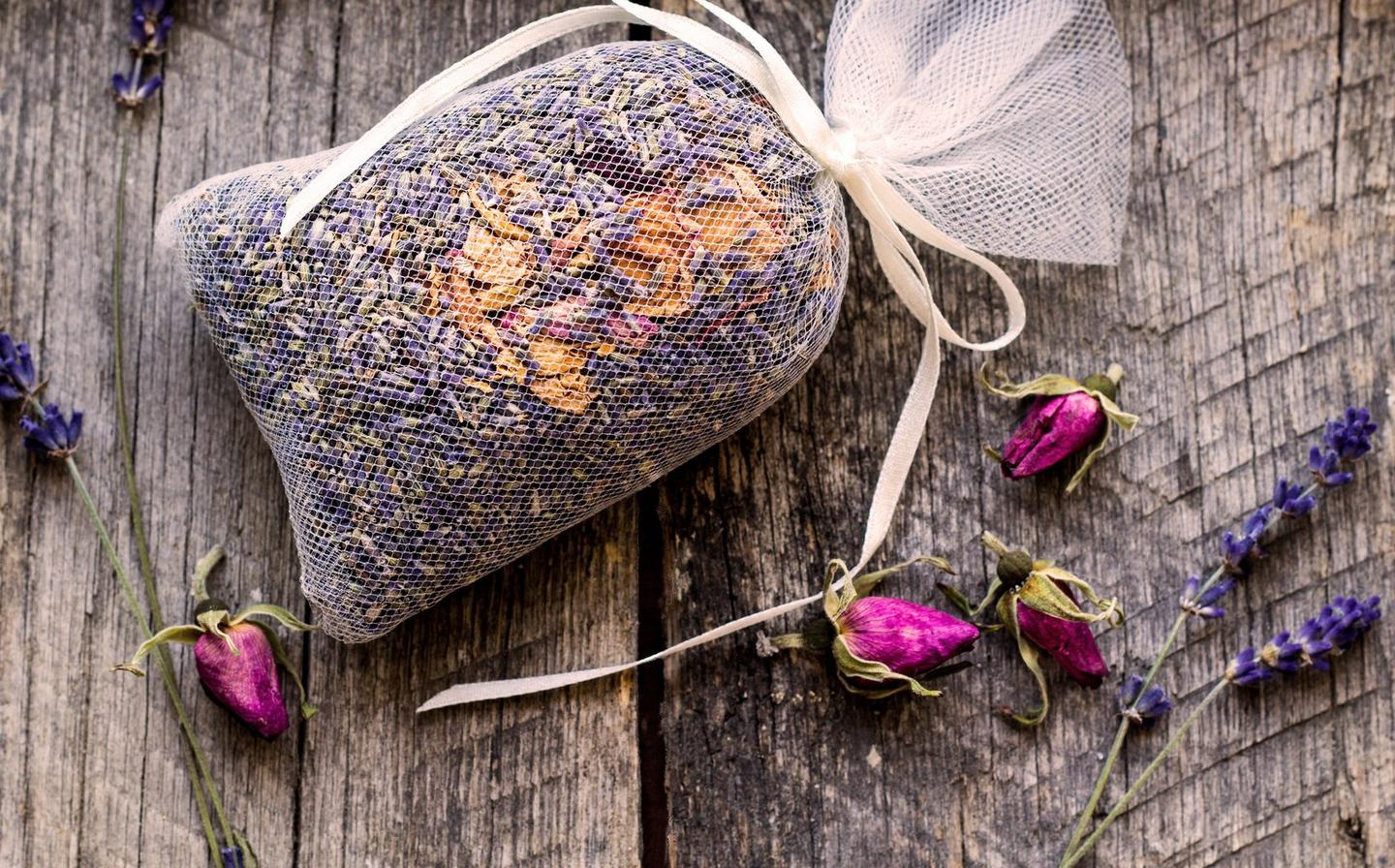 Beautifully wrapped lavender bags, which are ideal for keeping moths away from knitwear when stored in drawers