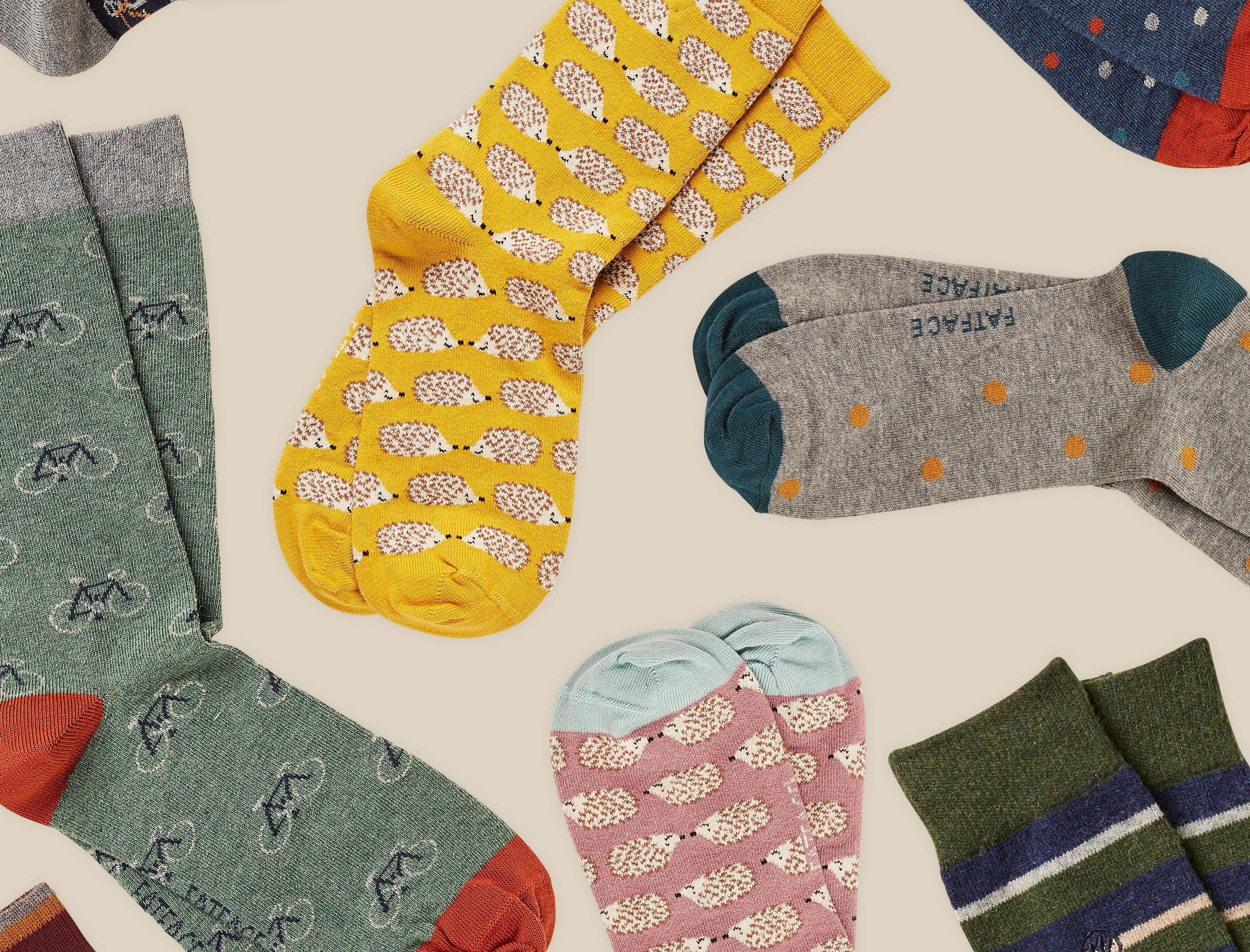 Image of mixed men's and women's printed socks.