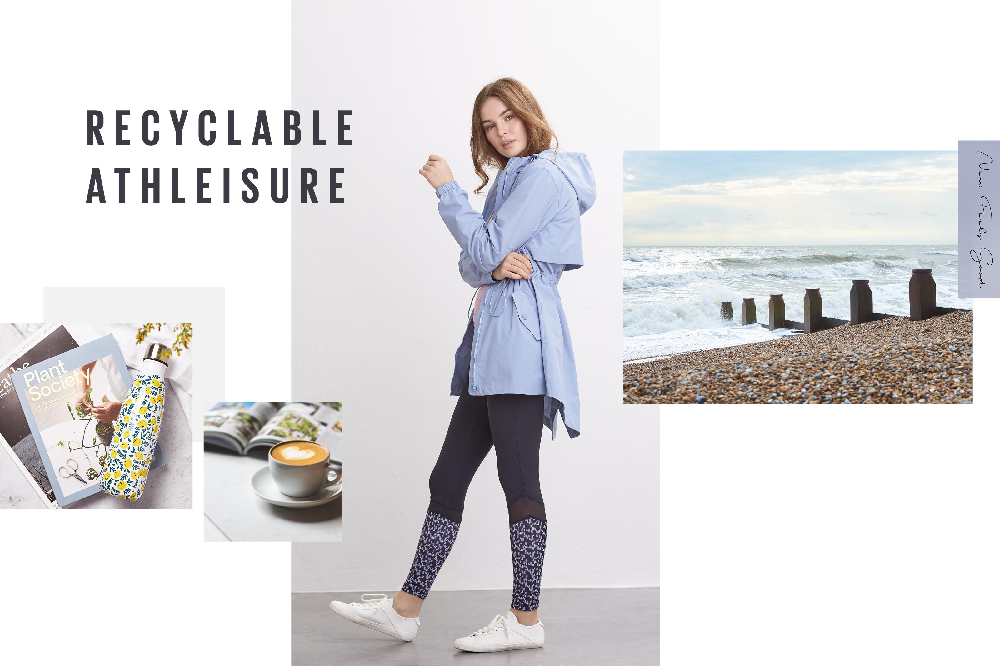 Four images of different sizes showing a picture of a beach, a female model wearing athleisure clothes and a cup of coffee.