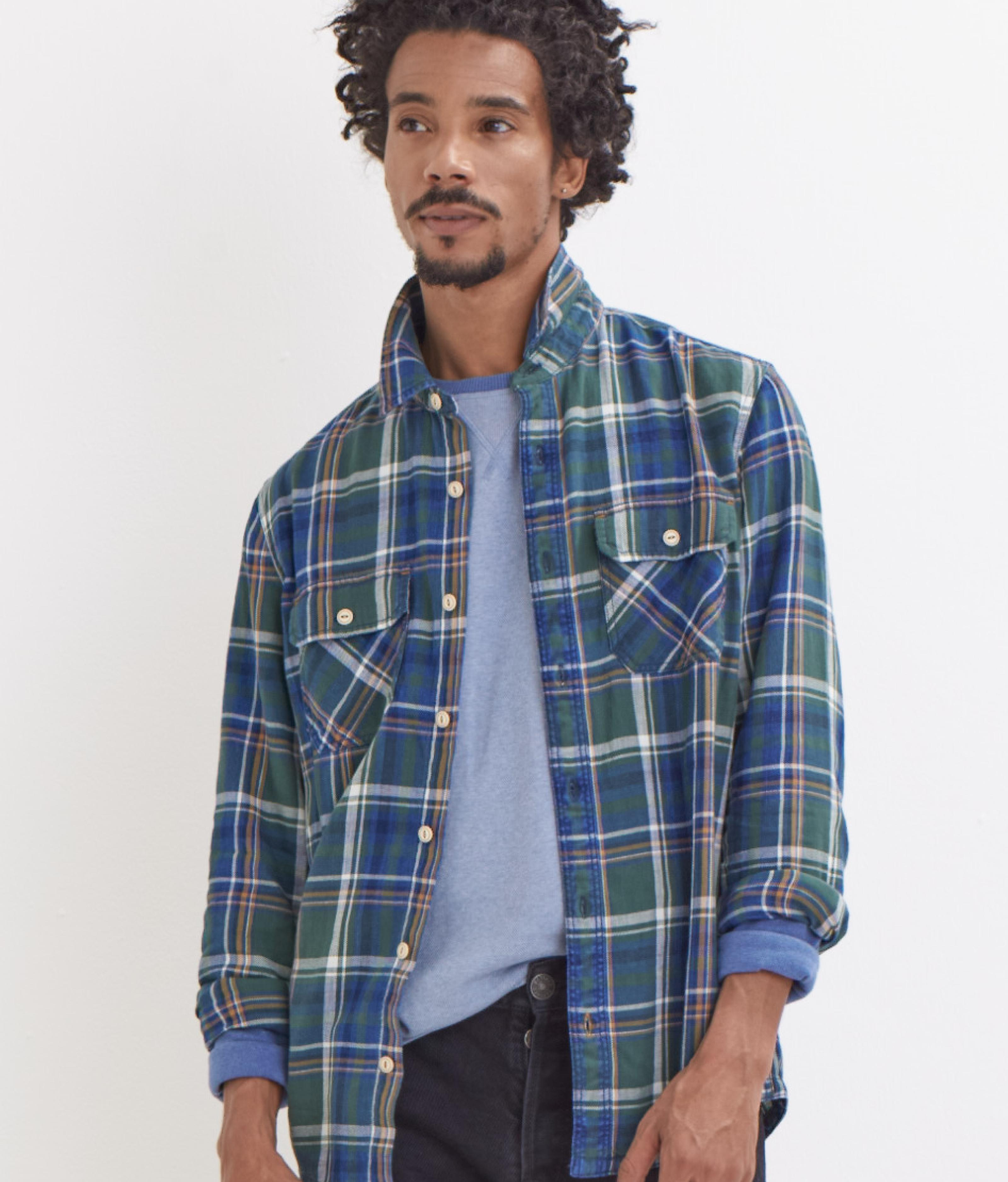 A male model wearing a blue and green check shirt.