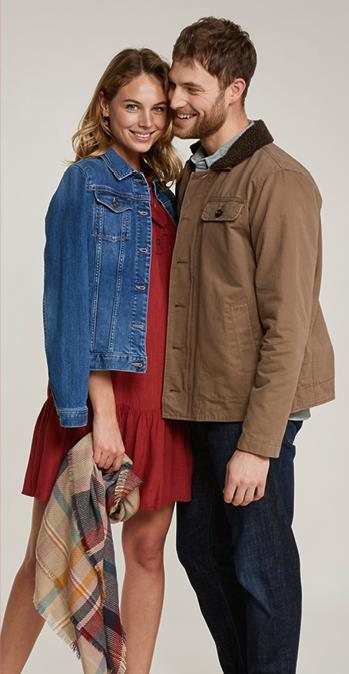 Female model wearing the Vintage Blue Denim Jacket and a male model wearing the Cotton Sherpa Deck Jacket.