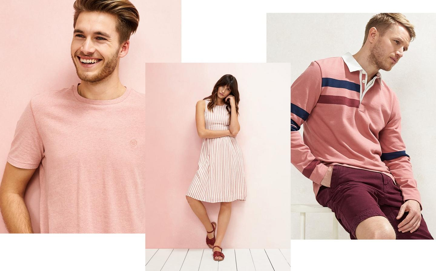 A selection of FatFace clothes available at FatFace, from a plain t-shirt to a stripe dress, worn on models