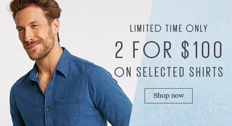 Male FatFace model wearing a Thole Micro Check Shirt promoting 2 for $100 shirts.