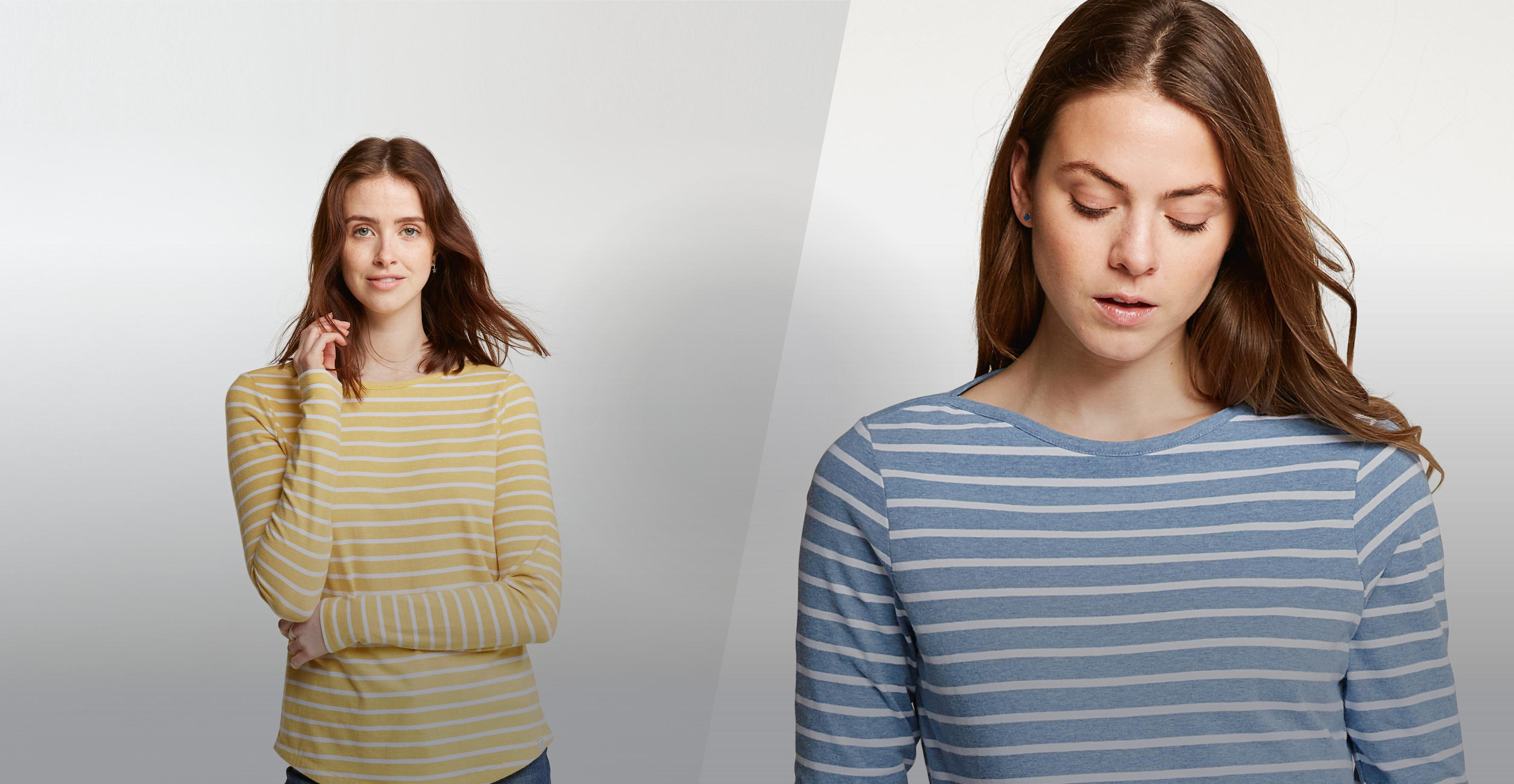 Two female models wearing the Breton T-Shirt in daffodil and sail blue
