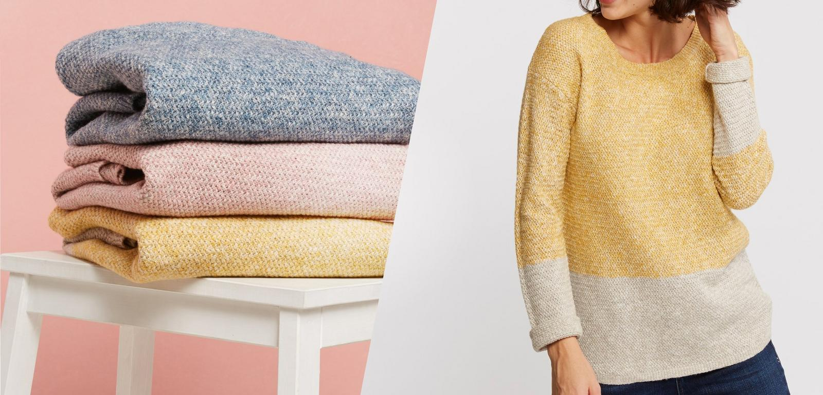 Image of stacked jumpers and a female model wearing the Harpenden Jumper in daffodil
