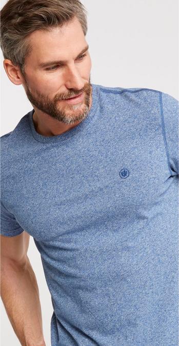 163eea3ce739 Male model wearing the Hawnby Organic Cotton Crew Neck T-Shirt in azure