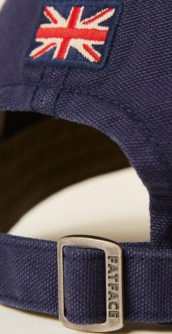 Close up of the back of the navy Plain Baseball Cap