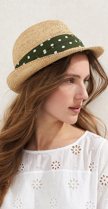 Female model wearing the Spot Band Trilby and the Emily Broderie Blouse