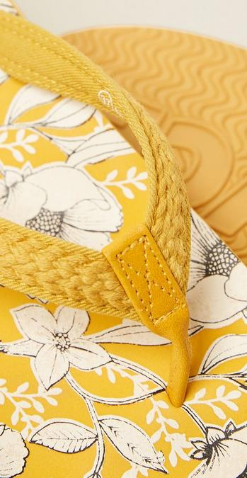 Close up detail shot of the yellow Bay Dragonfly Flip Flops