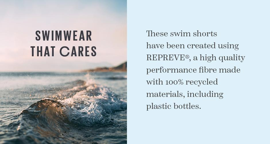 Swimwear that cares. These swim shorts have been created using Repreve, a high quality performance fibre made with 100% recycled materials, including plastic bottles.