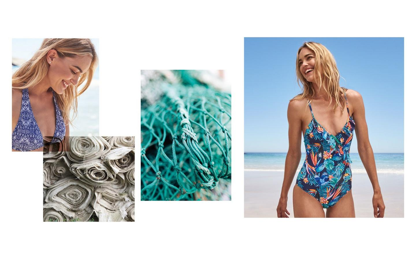 FatFace printed swimwear, made with eco-friendly fabric that's better for the environment