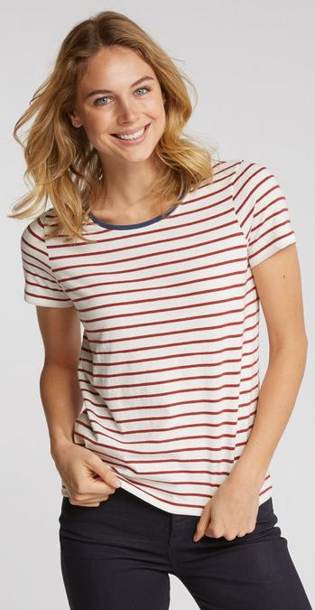 Female model wearing the Organic Cotton Breton T-Shirt in Firebrick
