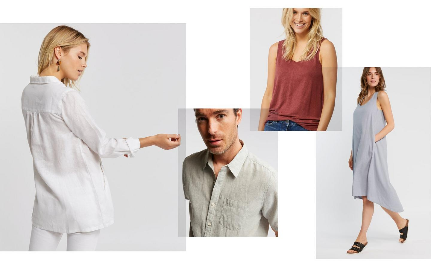 A collection of 100% linen styles being worn by a variety of models