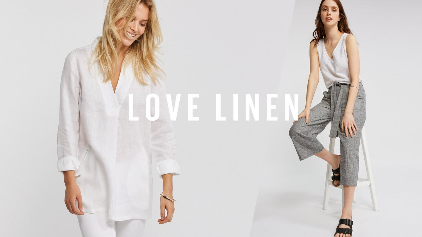Two pictures of female Fatface models wearing 100% linen clothing