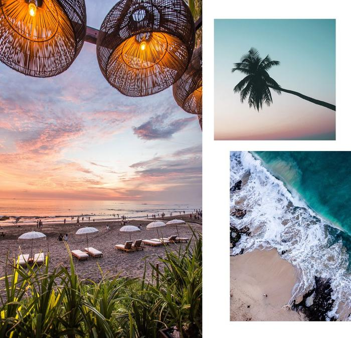 Collage of beach images of Uluwutu, Bali.
